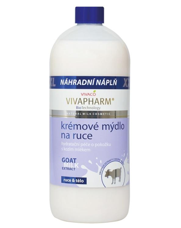 Levně Vivaco Mýdlo na ruce s kozím mlékem NÁHRADNÍ NÁPLŇ 1 litr VIVAPHARM 1 litr