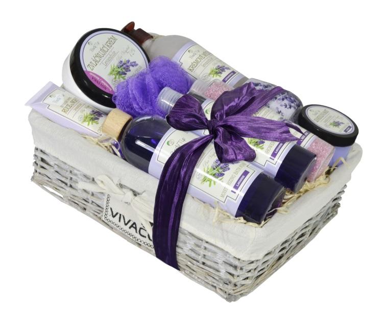 Vivaco Luxusní dárkový koš kosmetiky Levandule BODY TIP