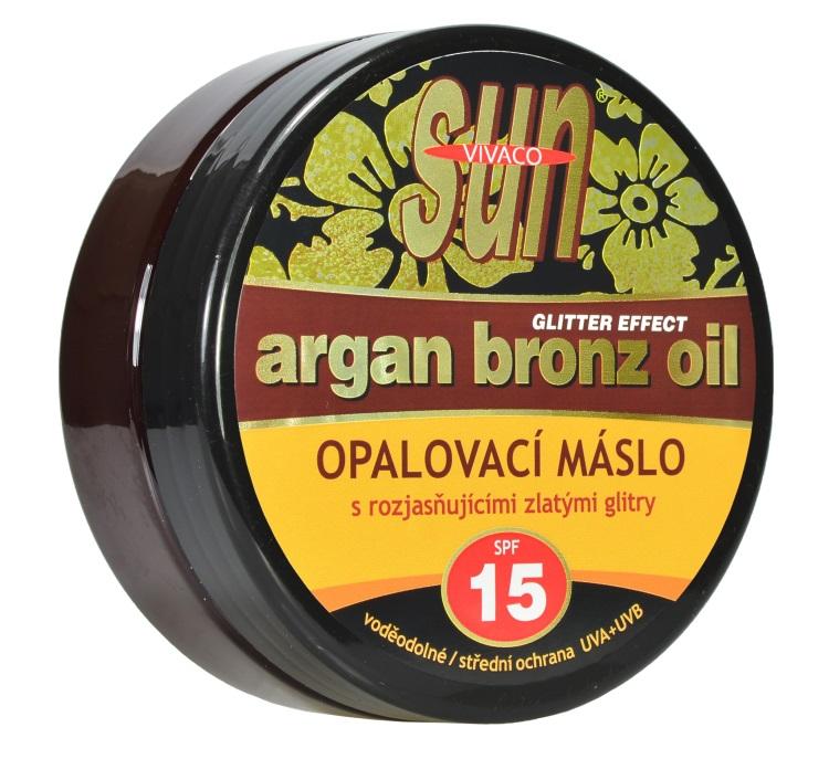 Levně Vivaco Sun Vital Opalovací máslo Glitter effect s bio arganovým olejem SPF 15 SUN 200 ml