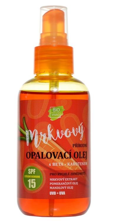 Vivaco 100% Přírodní opalovací olej s mrkvovým extraktem SPF 15 150 ml